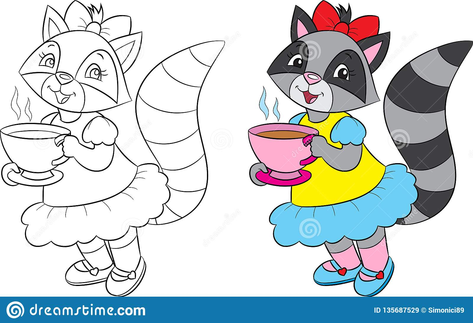 Przed i po ilustracją śliczny dziewczyny szop pracz w czarny i biały w kolorze i, pije herbaty, dla kolorystyki książki