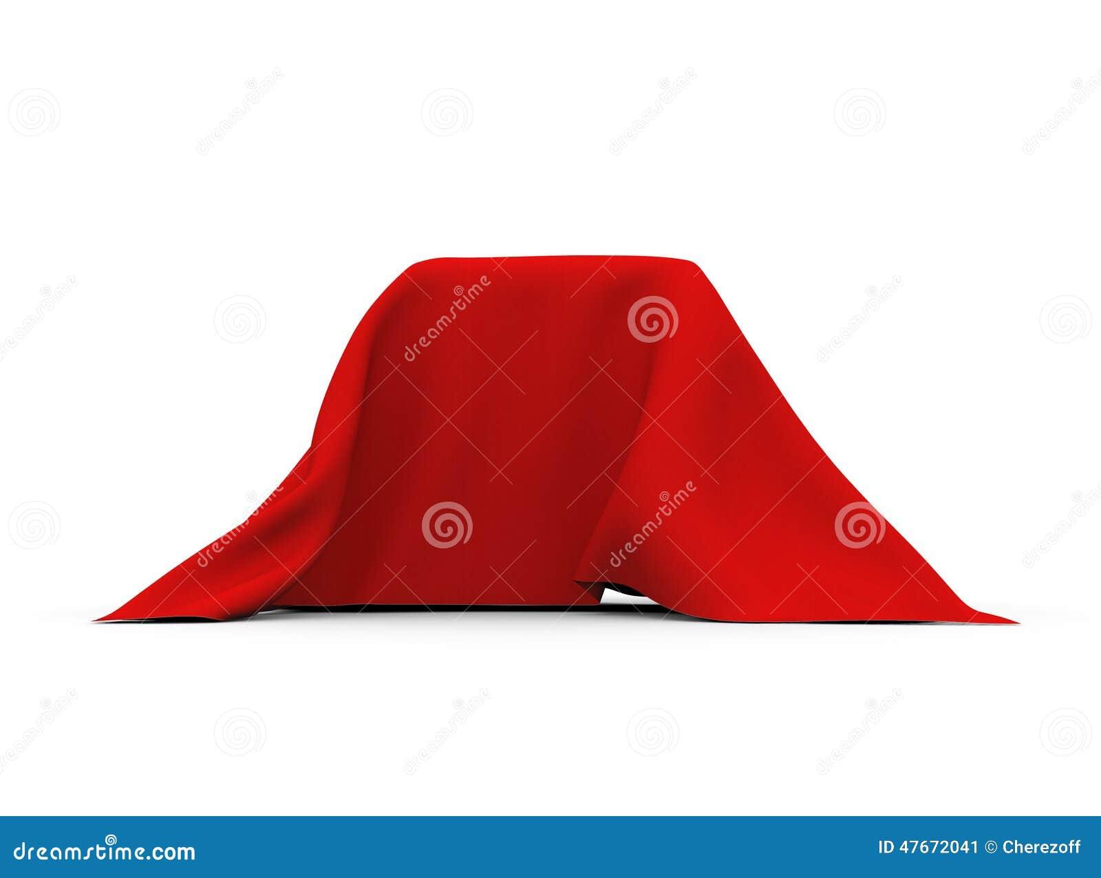 Przedmiot zakrywający z czerwonym płótnem prostokątny kształt