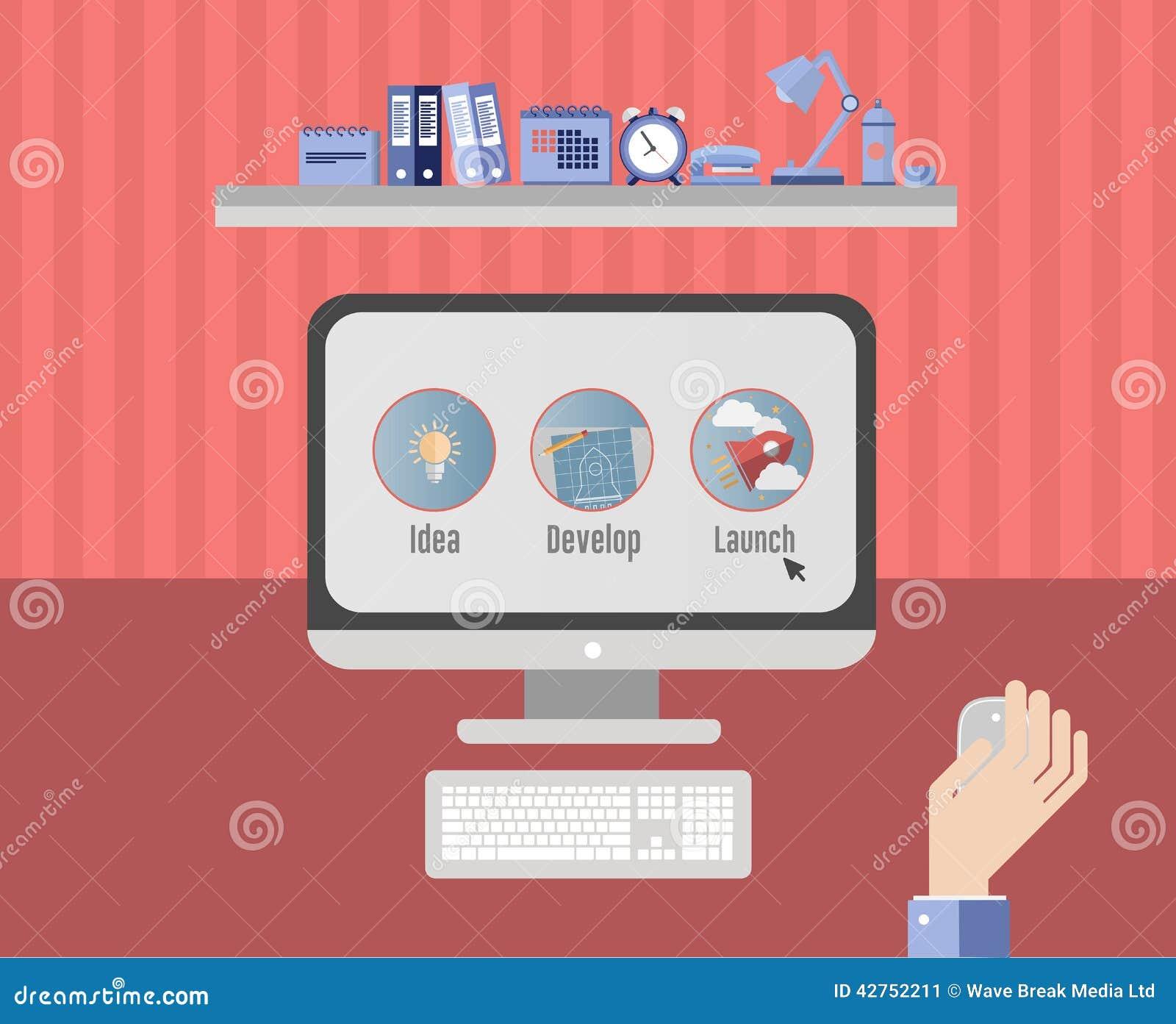 Przedsiębiorca pracuje na planie biznesowym na komputerze
