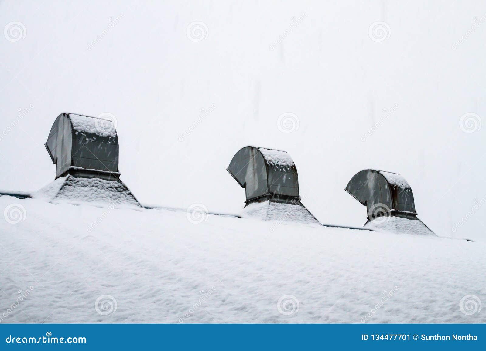 Przedyskutowany dach z śnieg zakrywającym bielem
