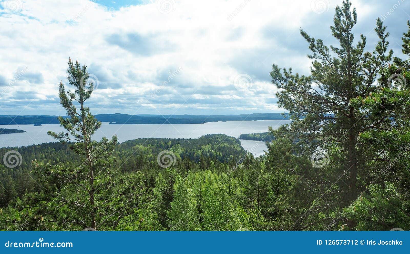 Przegląd przy päijänne jeziorem od struve geodezyjnego łuku przy moun