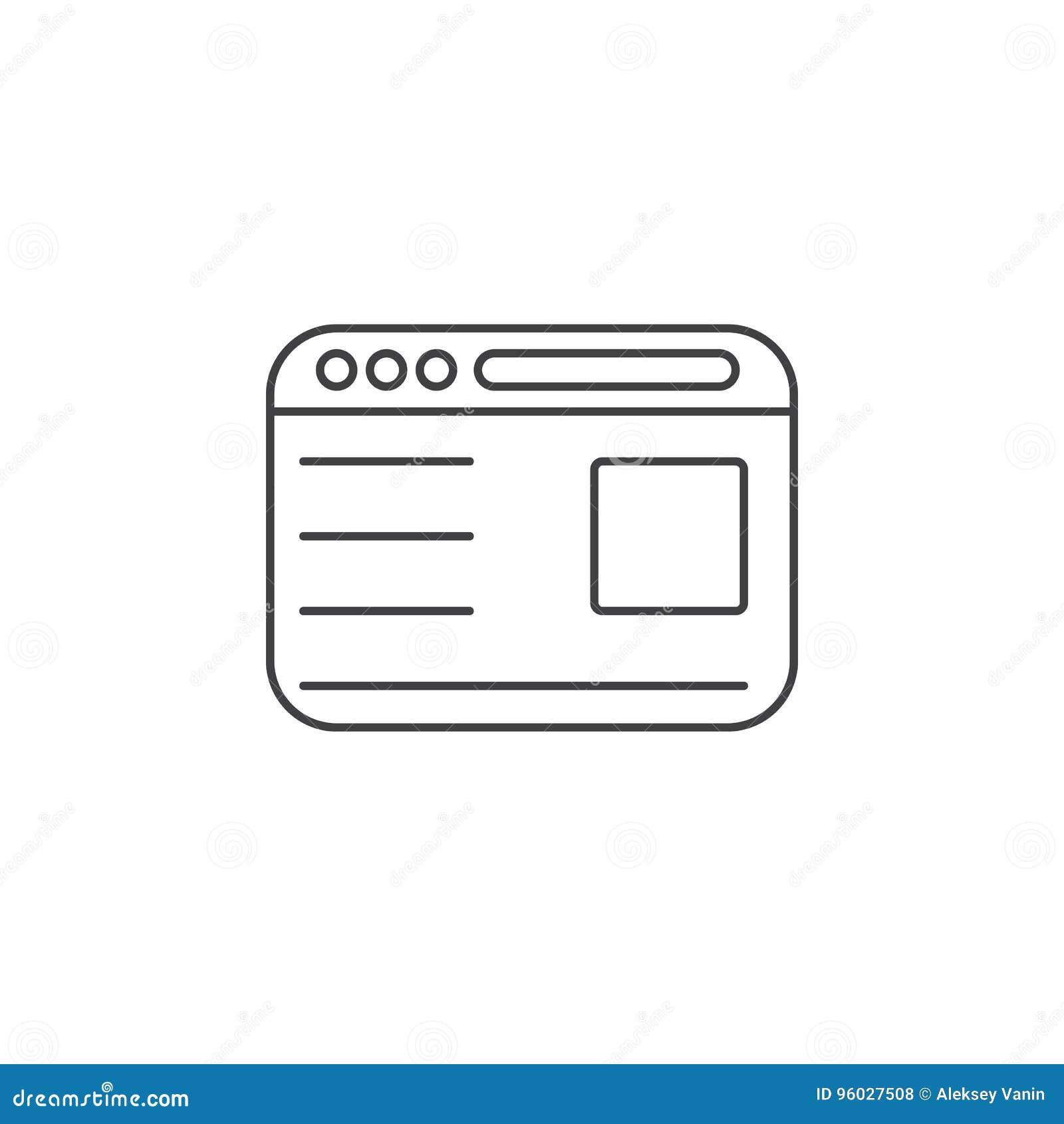 Przeglądarki internetowej cienka kreskowa ikona, webpage konturu loga wektorowy illustra