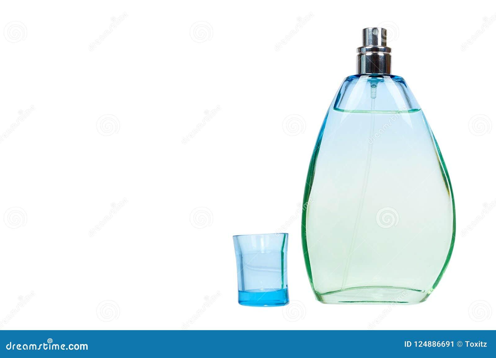 Przejrzysta pachnidło butelka odizolowywająca na białym tle, kopia astronautyczny szablon