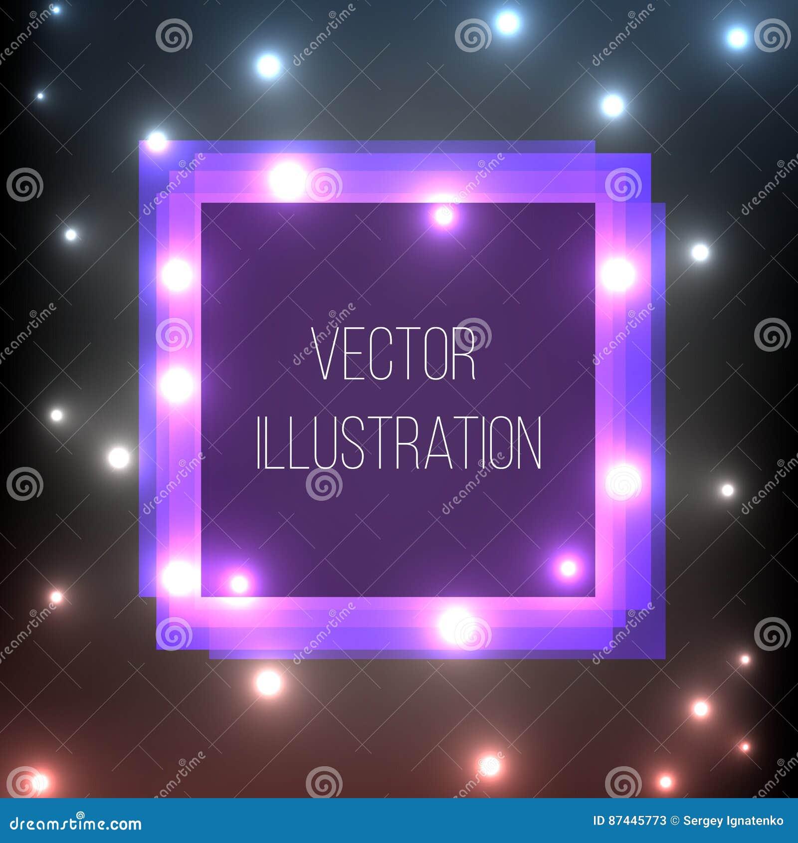 Przejrzyste purpury, błękit, czerń, kwadratowy sztandar Abstrakcjonistyczny rozjarzony zakres Jaskrawy lekki skutek Szablon neono