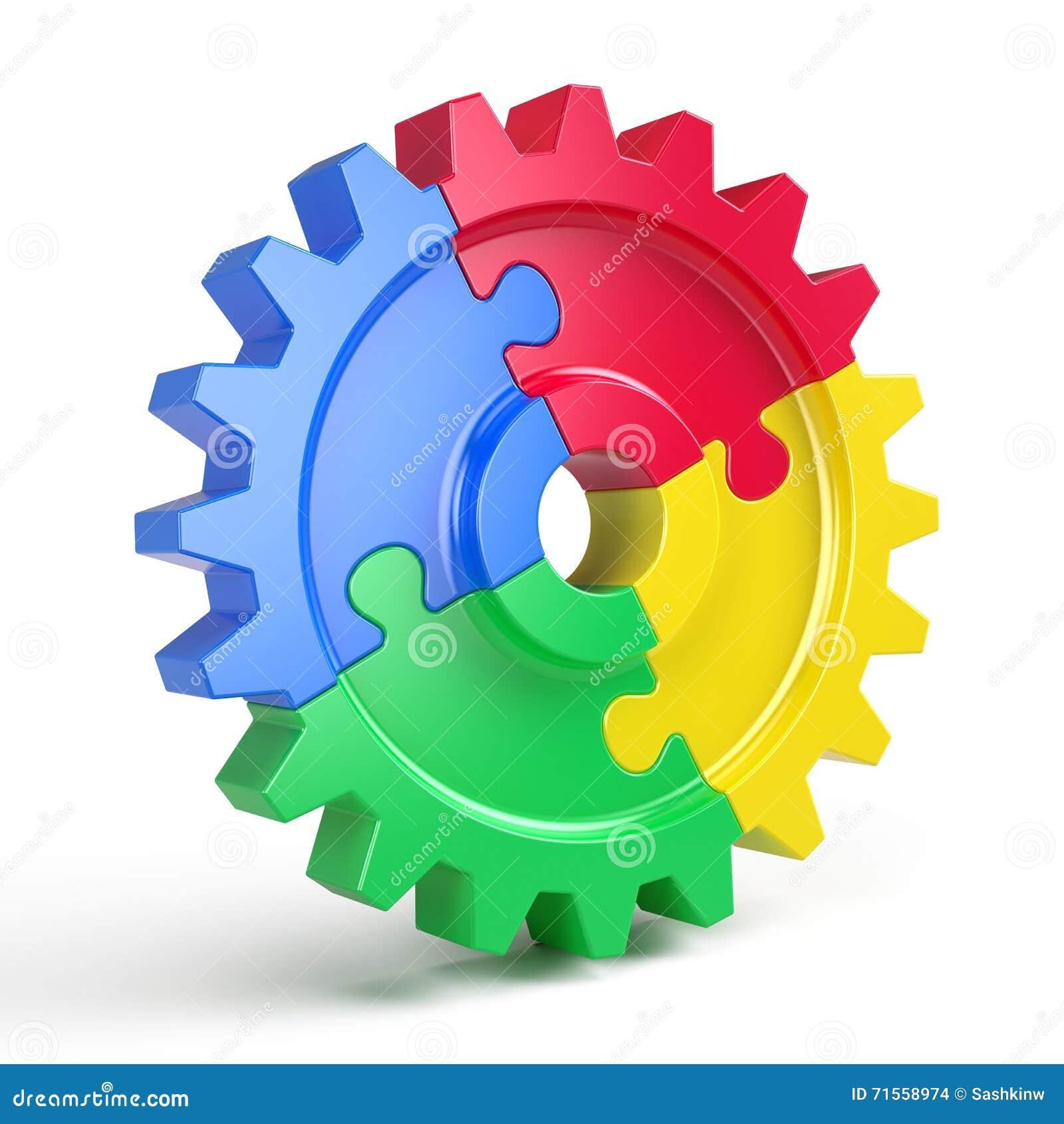 Przekładni łamigłówka - biznesowy pracy zespołowej i partnerstwa pojęcie