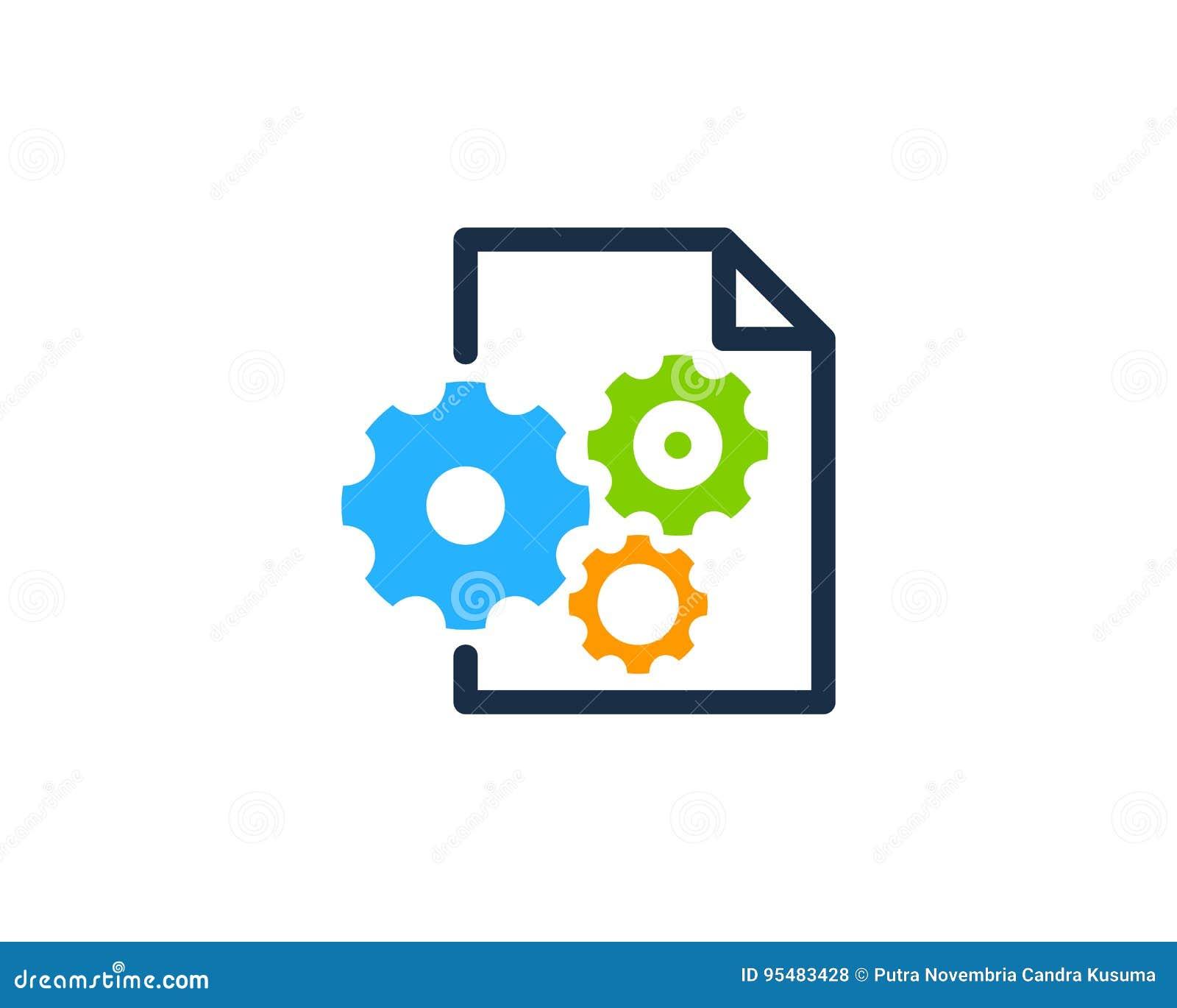 Przekładnia dokumentu ikony loga projekta Narzędziowy element