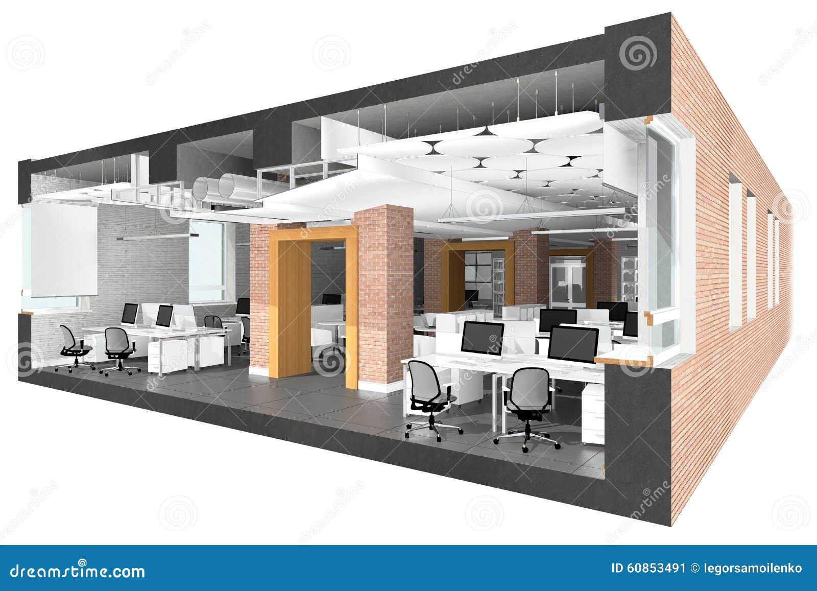 Przekrój poprzeczny powierzchnia biurowa