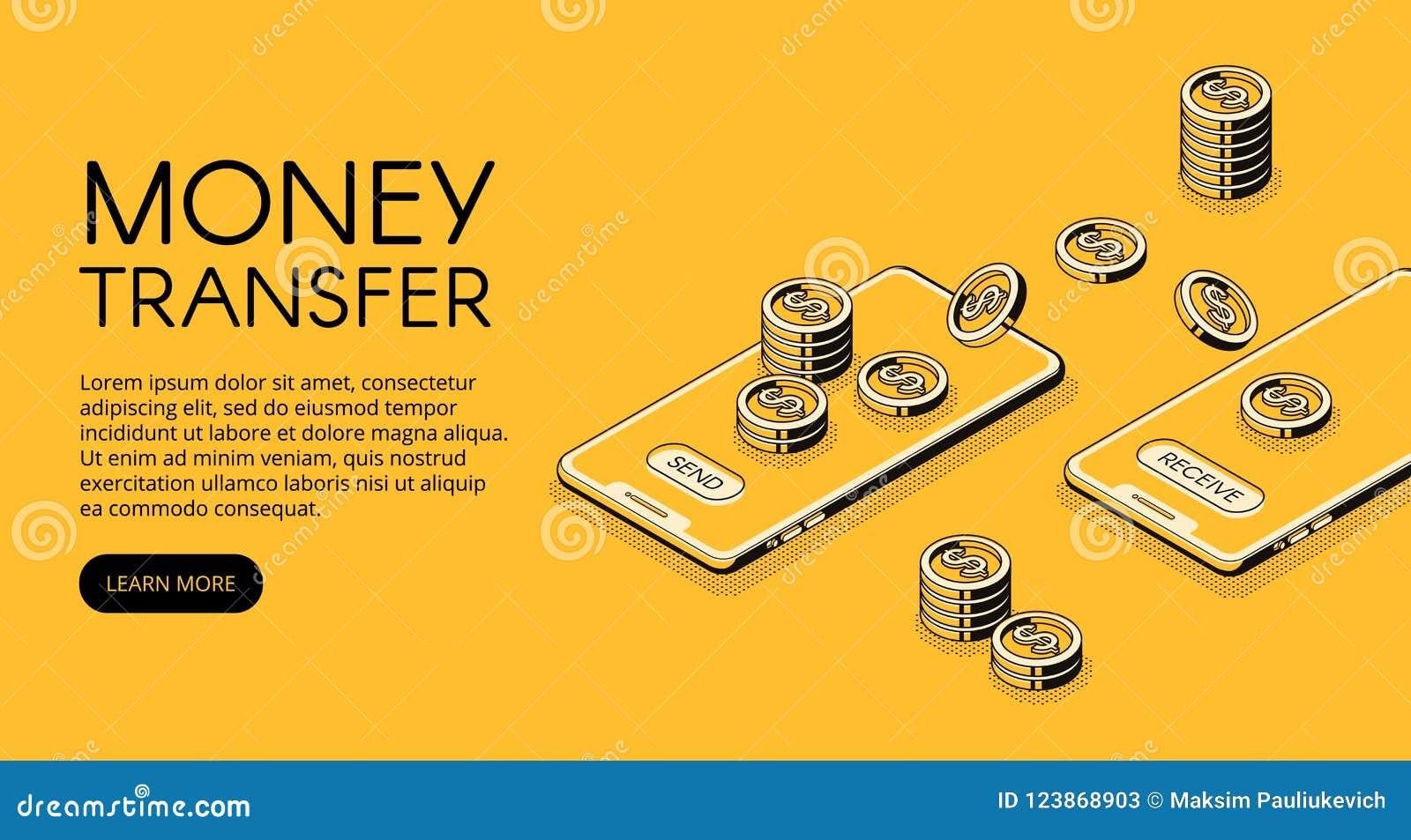 Przelewu pieniędzy telefonu komórkowego wektoru ilustracja