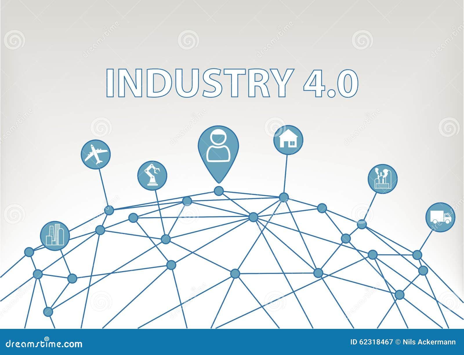 4 przemysł (0) ilustracyjnych tło z światową siatką i konsumentem łączył przyrząda jak przemysłowe rośliny, roboty
