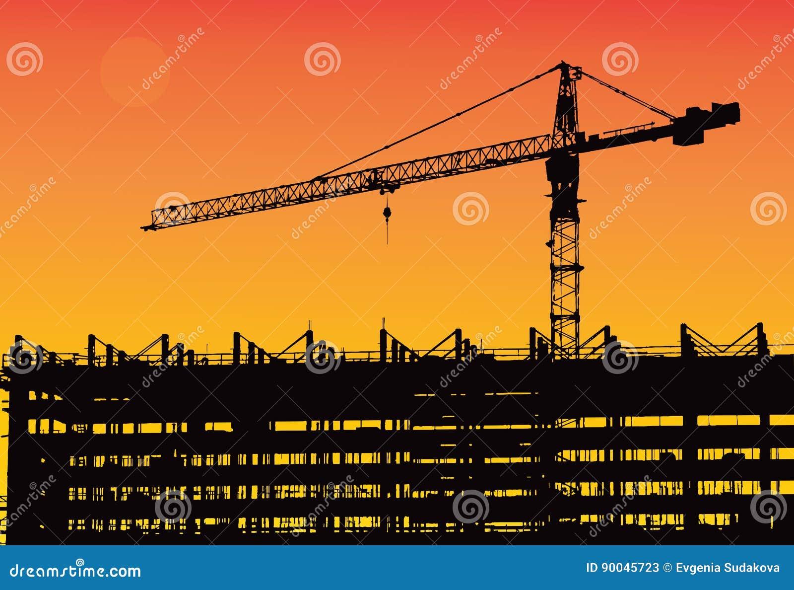 Przemysłowa maszyneria i budowa żuraw Żurawie i drapacz chmur w budowie, miasto linii horyzontu zmierzch, wschód słońca Buildin