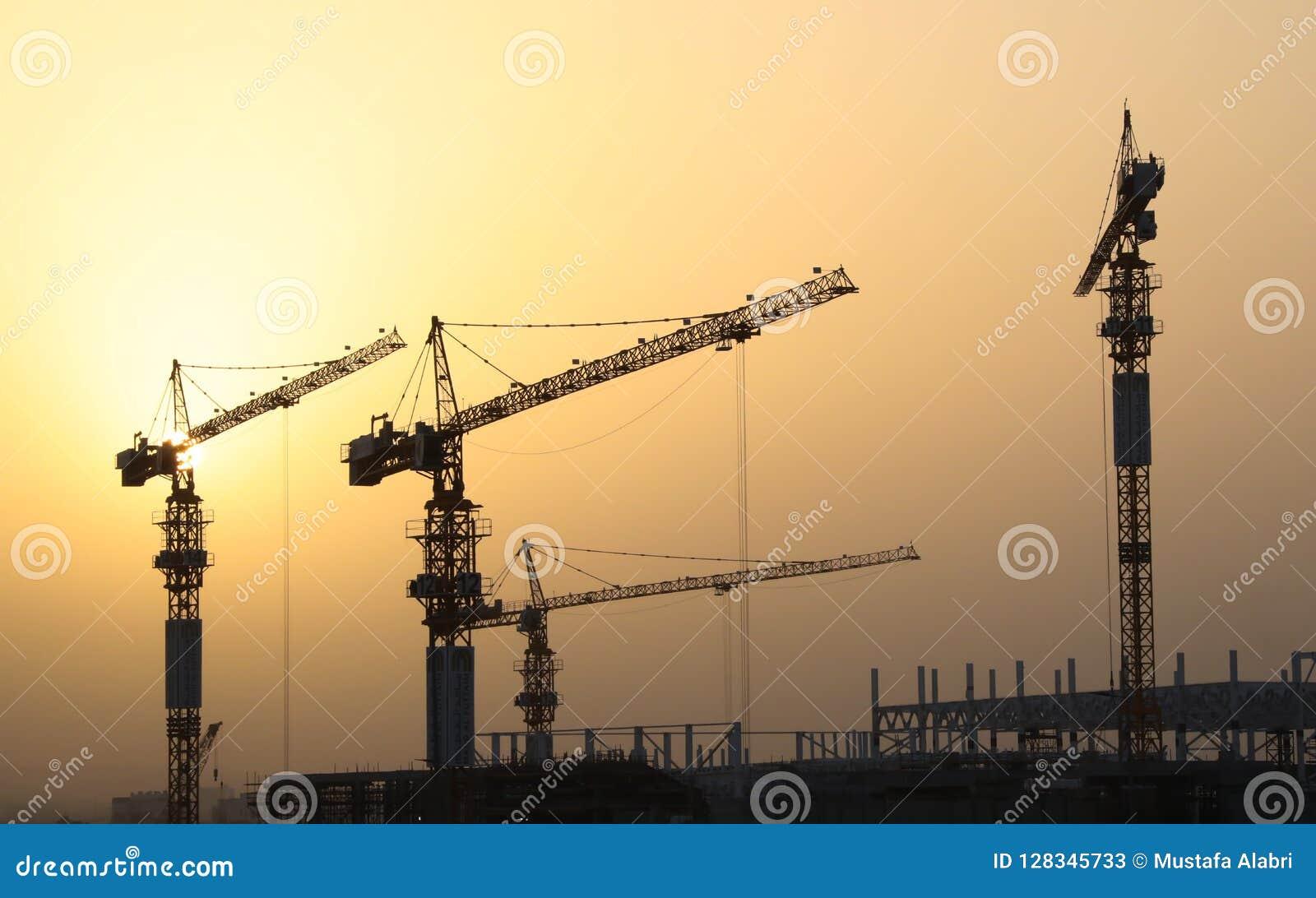 Przemysłowi żurawie budowa budynek i