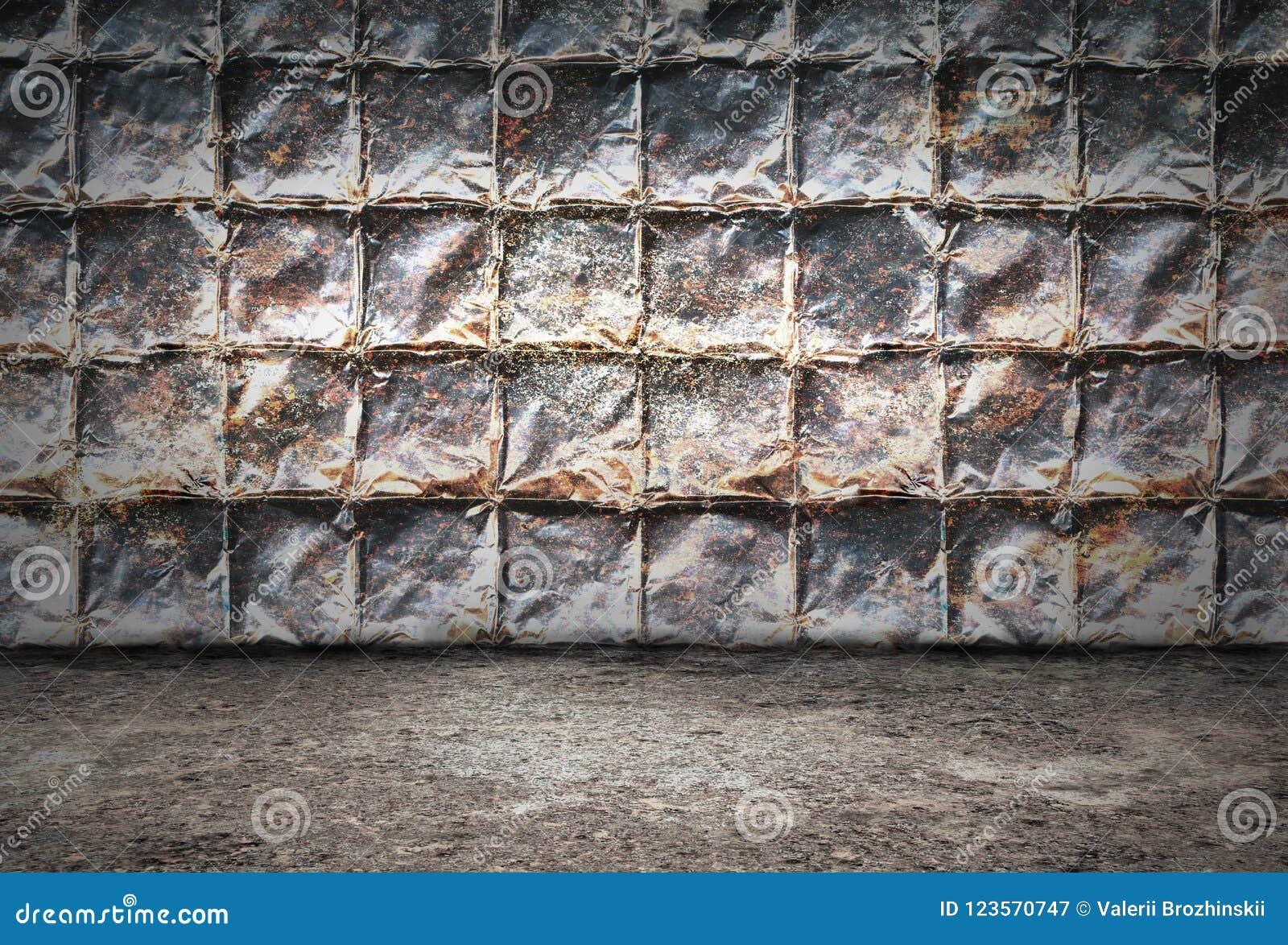 Przemysłowy grunge tła pokój z ścianami ośniedziali metali talerze i brudna metal podłoga