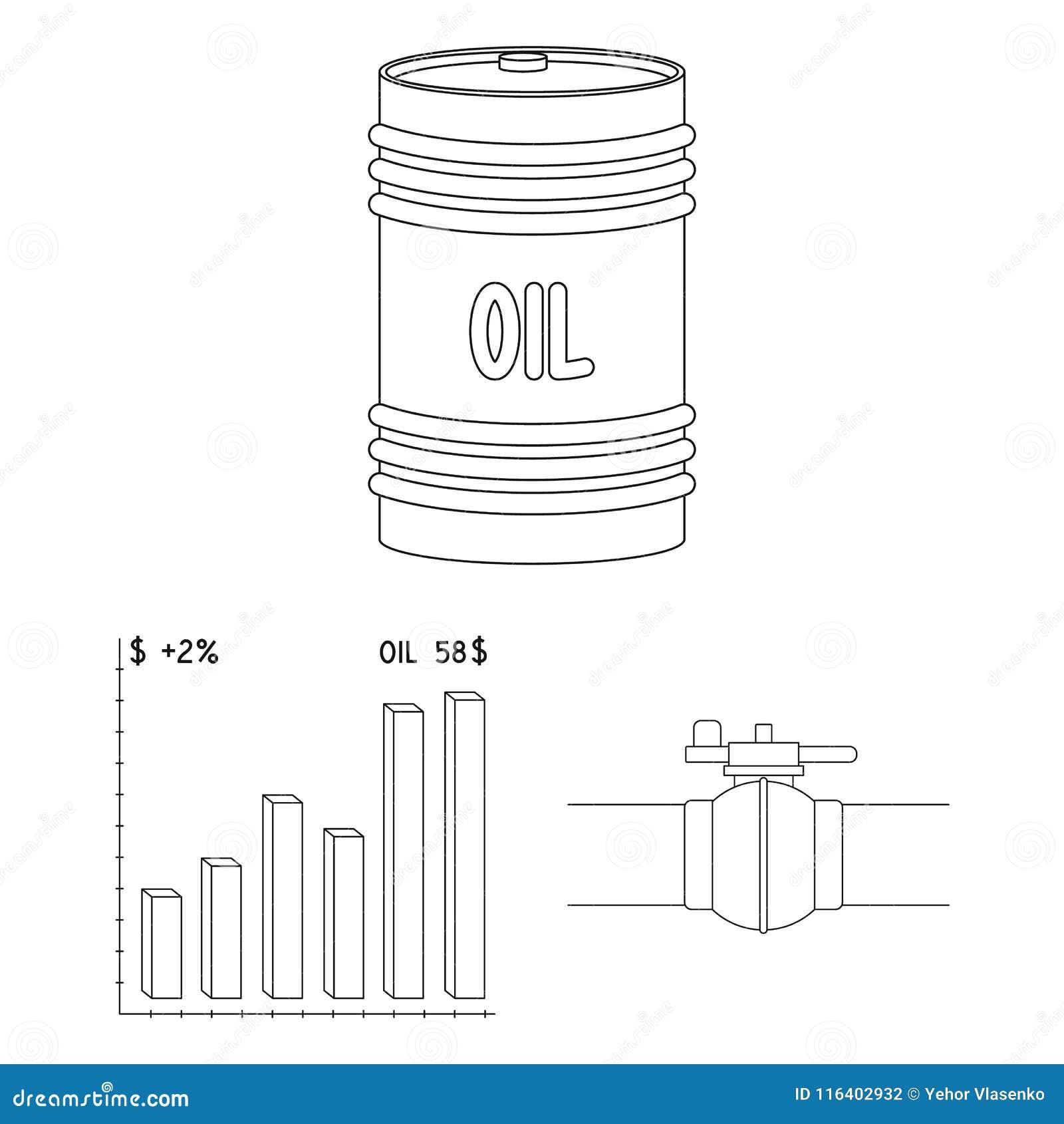 Przemysłu paliwowego konturu ikony w ustalonej kolekci dla projekta Wyposażenie i produkcja ropy naftowej symbolu zapasu wektorow