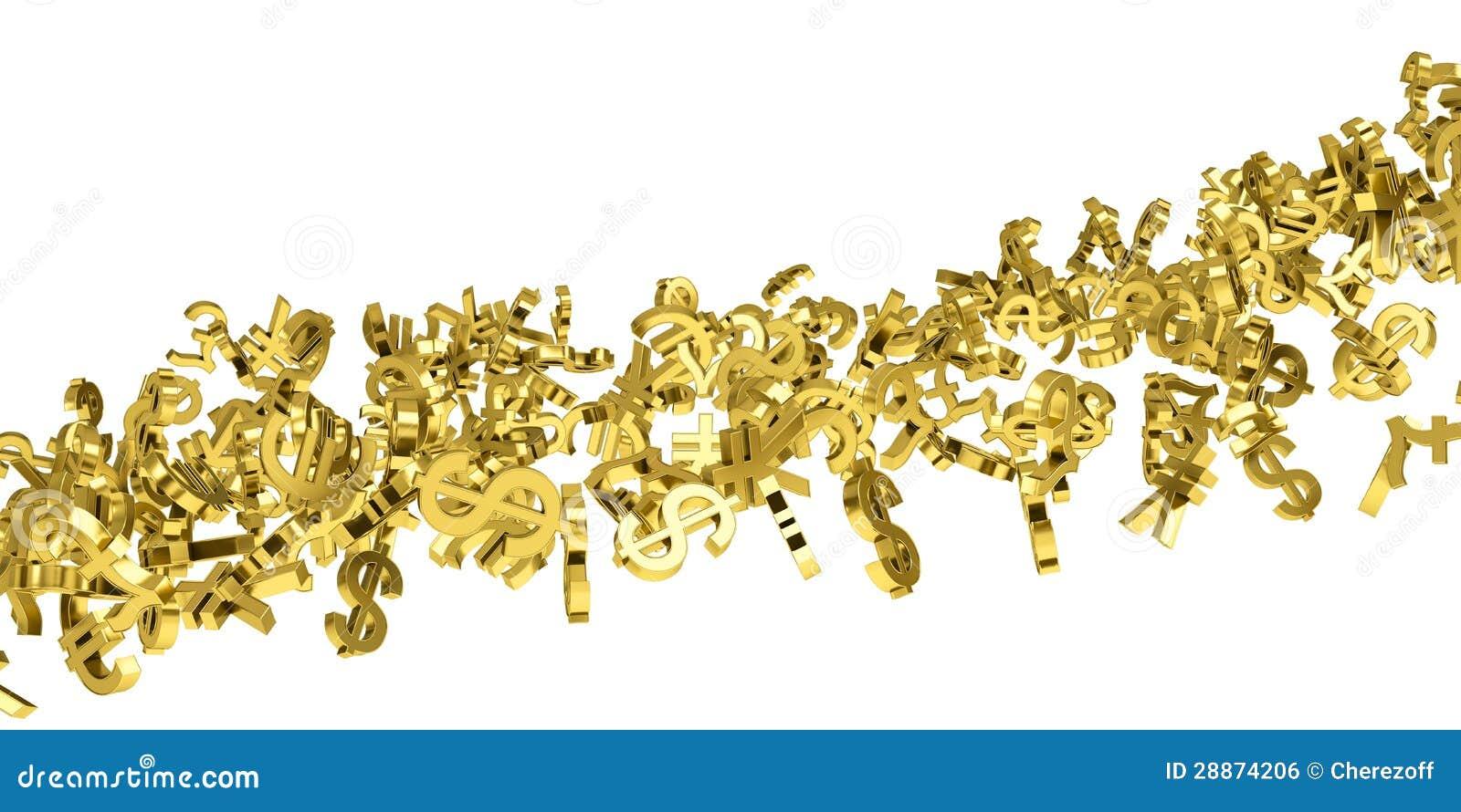 Przepływ złocistej waluty symbole