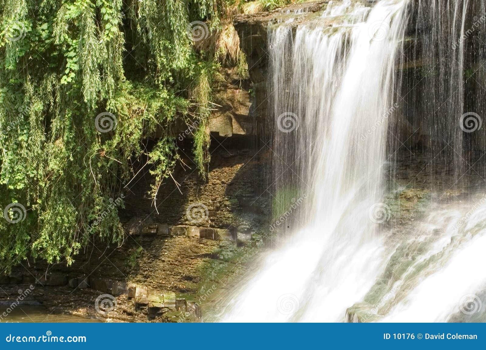 Przepływ zamazana wodospadu