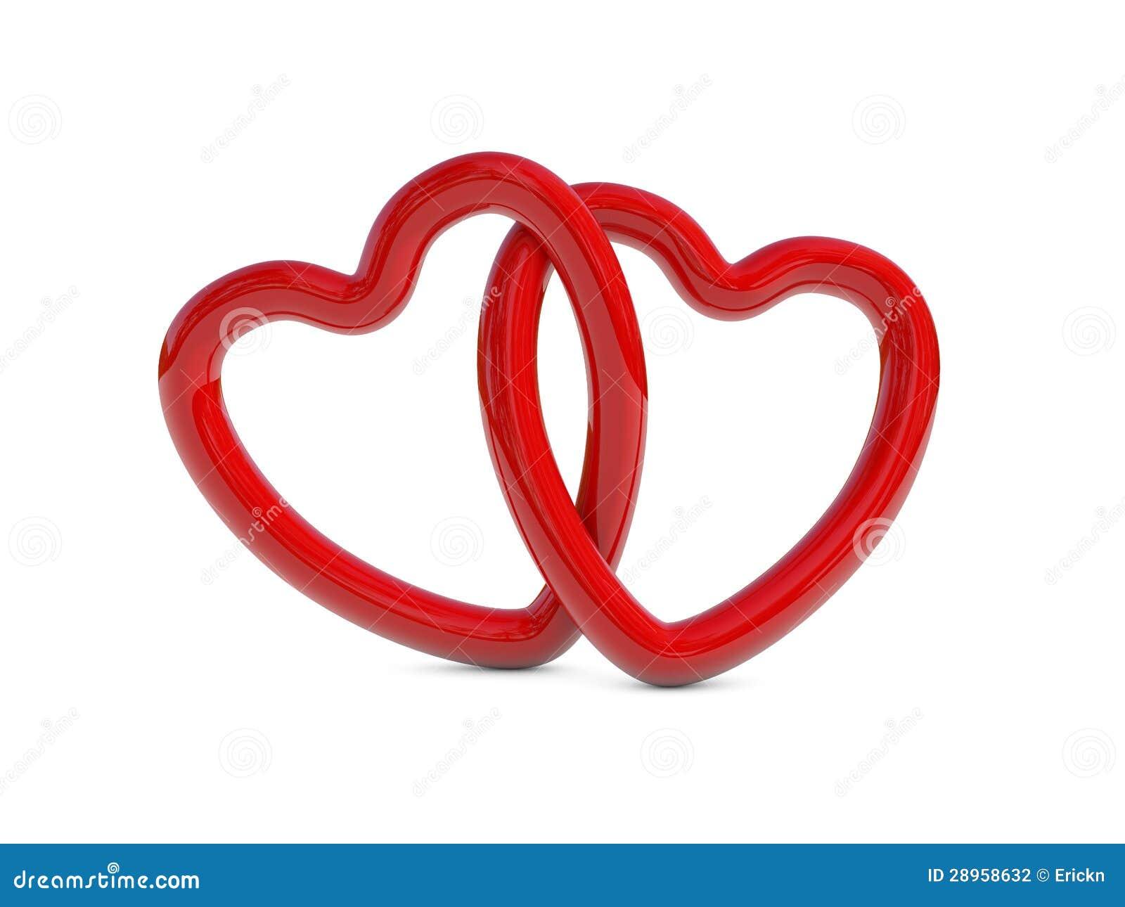 Przeplatani czerwoni serce pierścionki