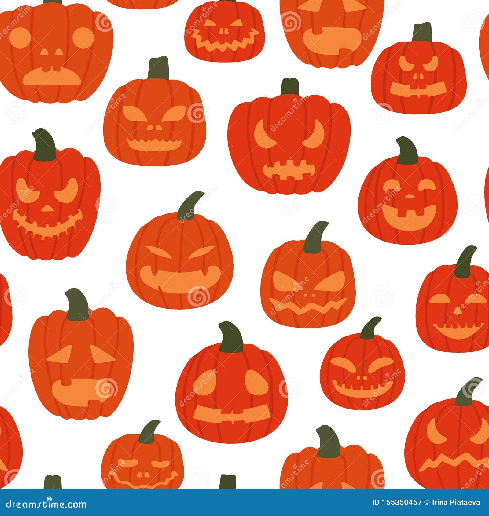 Przerażających bani bezszwowy wzór na białym tle Halloween od t?a blasku ksi??yca uwagi r?wnie? zwr?ci? corel ilustracji wektora