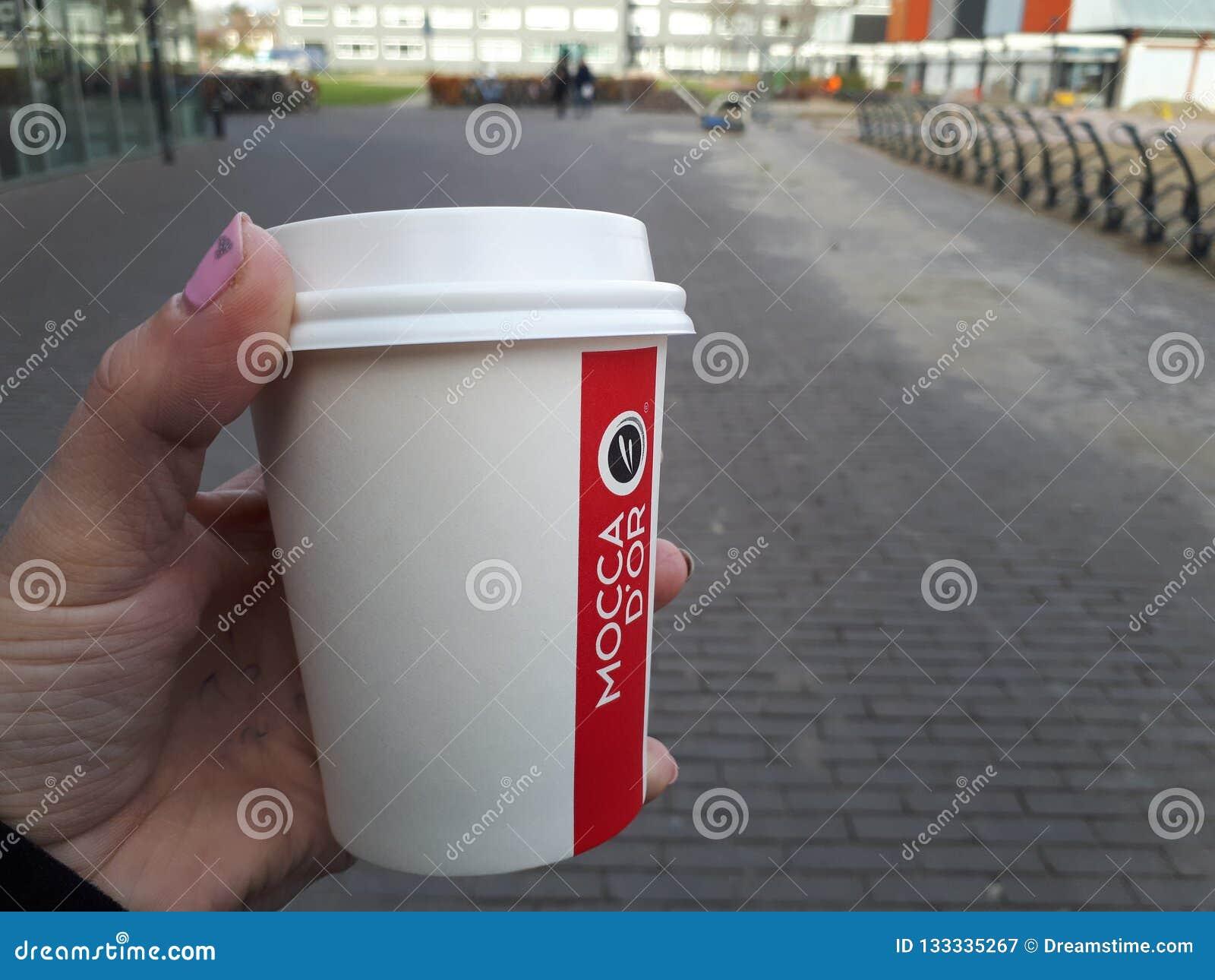 Przestań tła rogalik filiżanki kawy sweet