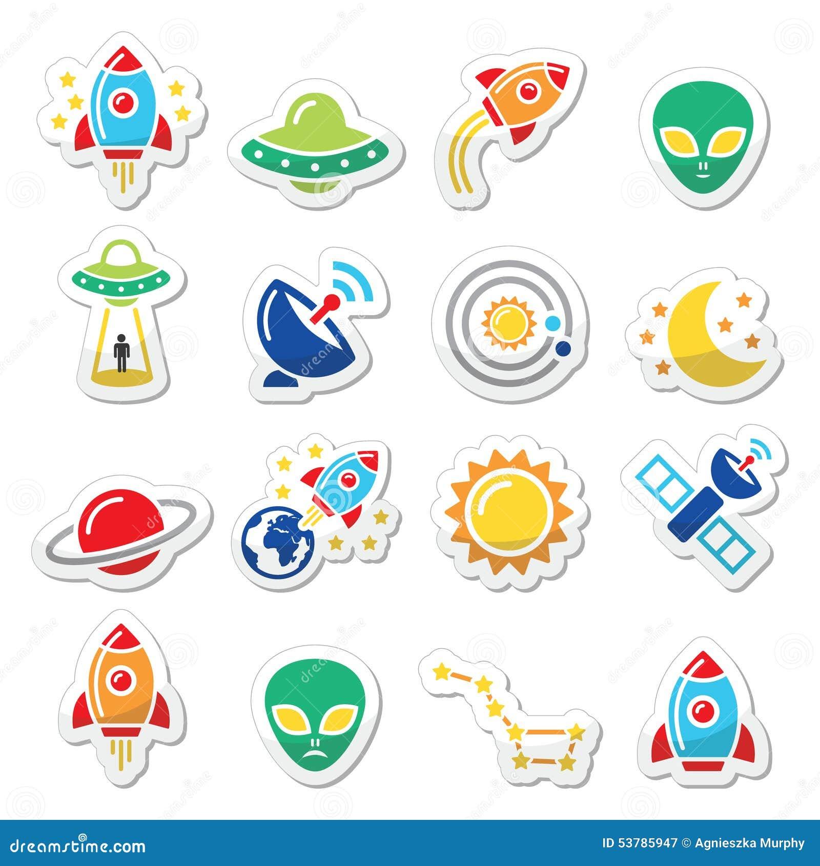 Przestrzeń i UFO ikony ustawiać
