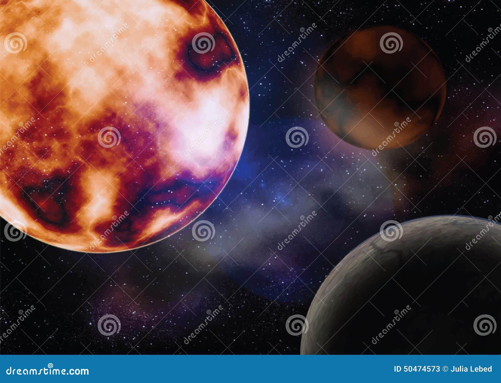 Przestrzeń z słońce planetami