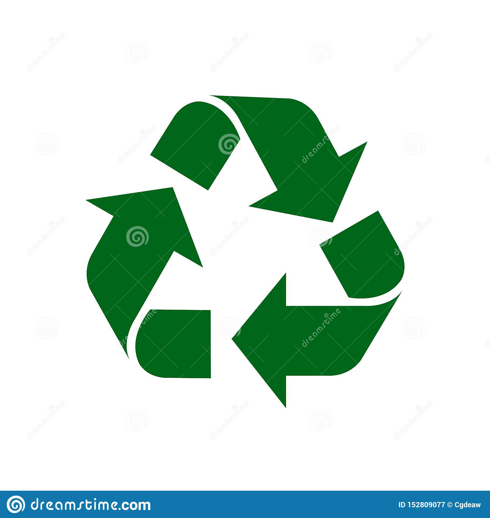 Przetwarza symbol zieleń odizolowywającą na białym tle, zielony ekologii ikony znak, zielony strzałkowaty kształt dla przetwarza