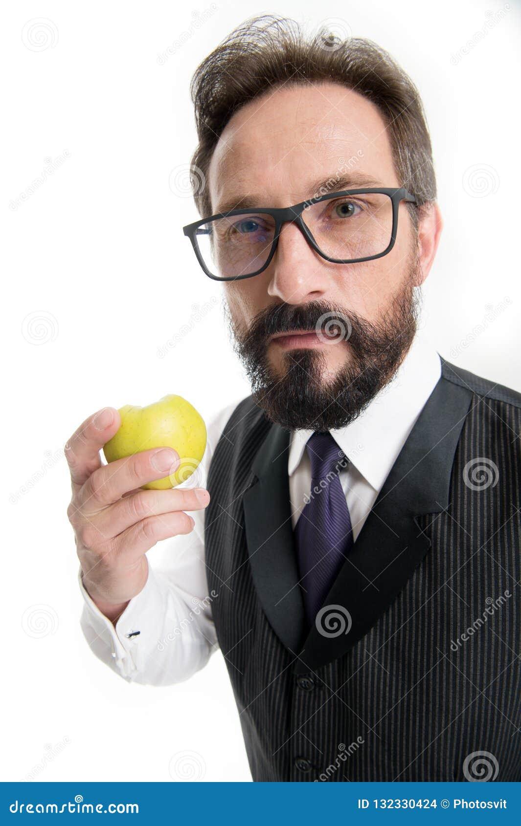 Przewdonik recepturowi eyeglass obiektywy, ramy i Biznesmen klasyczna formalna odzież i właściwi eyewear chwyty jemy jabłka