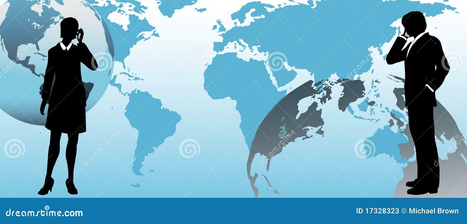 Przez biznes komunikuje światowych globalnych ludzi