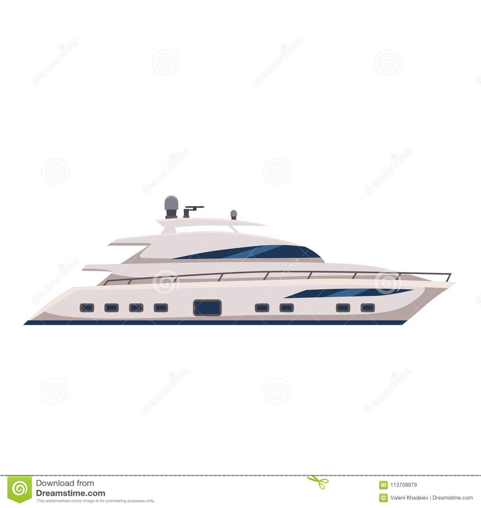 Przyśpiesza łódź, jacht, kreskówka styl, wektorowa ilustracja, odizolowywająca