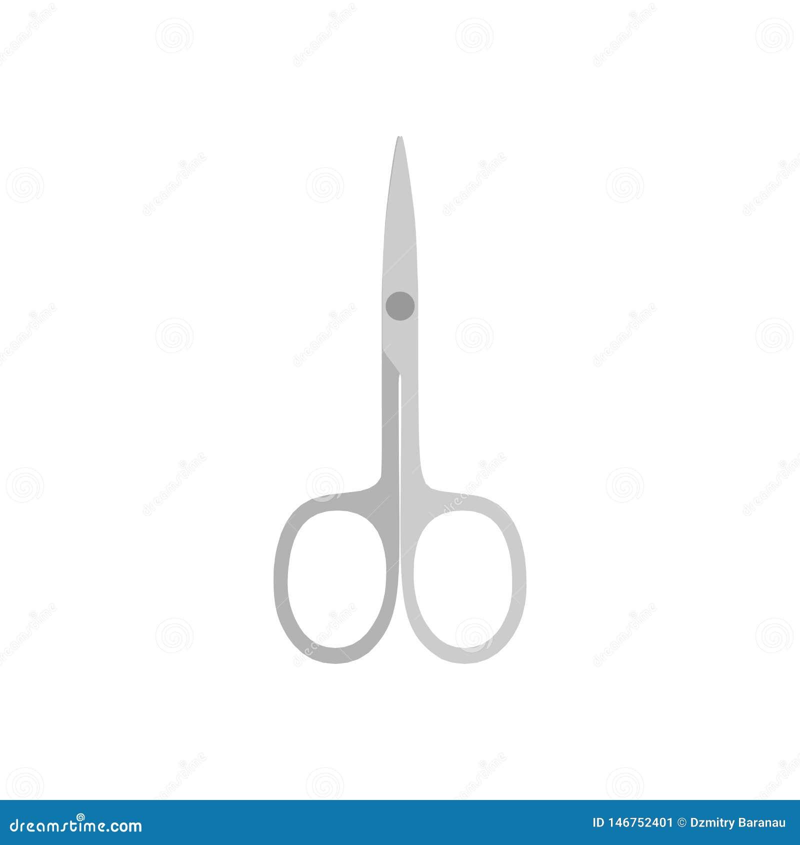 Przybija nożyce higieny białej wektorowej ikony wyposażenie odizolowywającego odgórnego widok Fachowy salonu manicure i pedicure