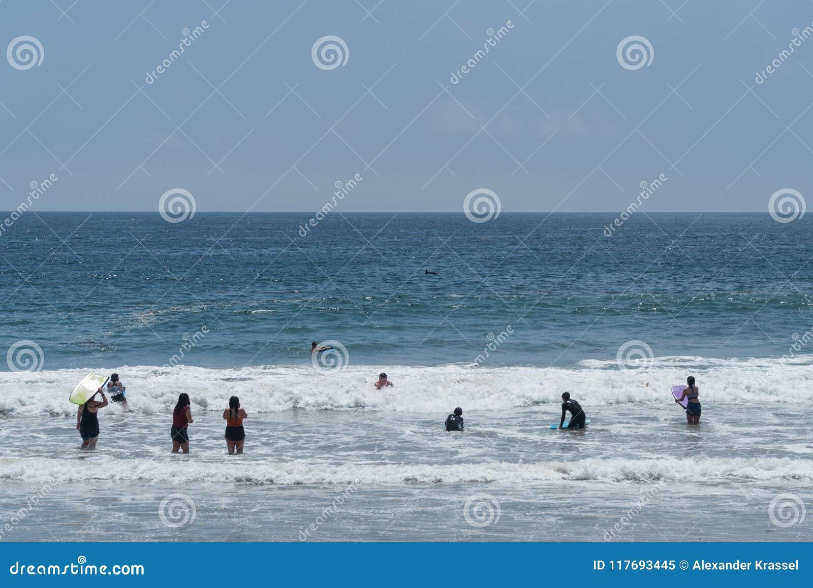 Przyciągający ogromnym tłoczy się przy Zuma plażą w Malibu, Kalifornia, na dniu pamięci, mały strąk delfiny dostaje blisko do t