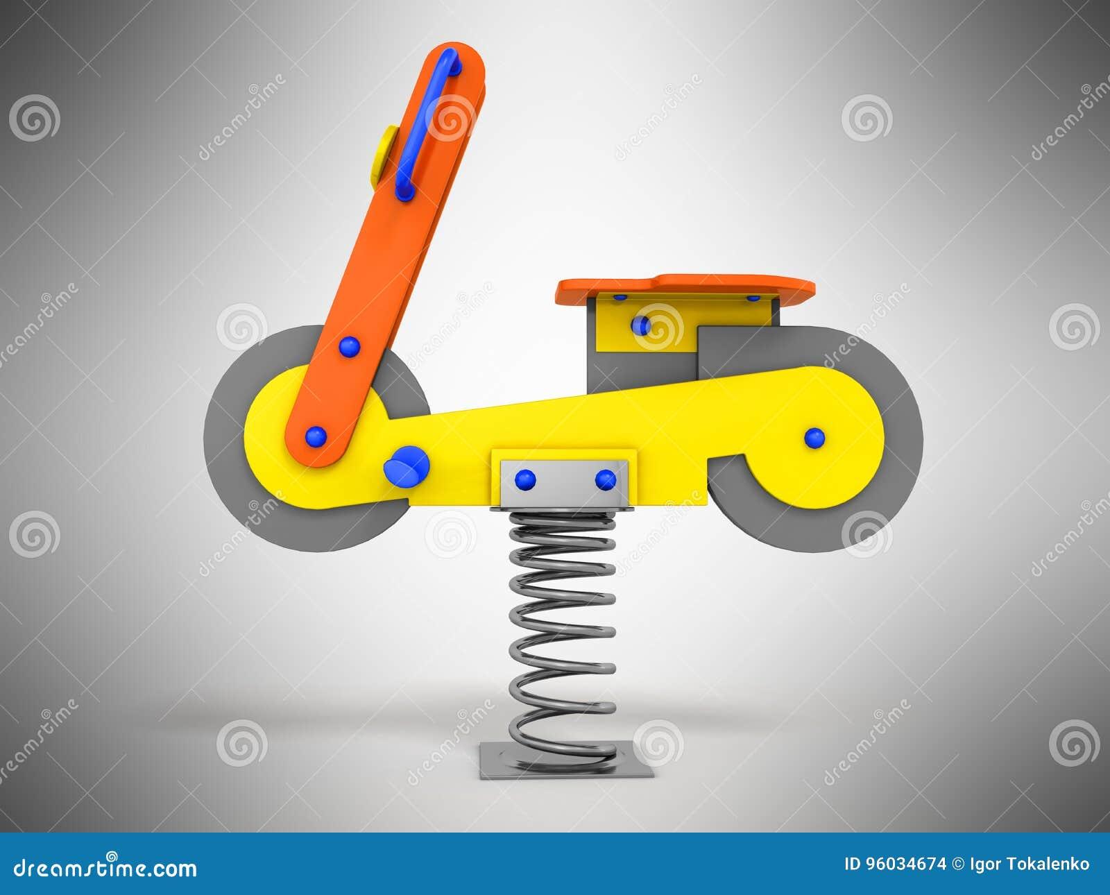 Przyciąganie gra dla dziecko wiosny żółtego błękita na lewym 3d r