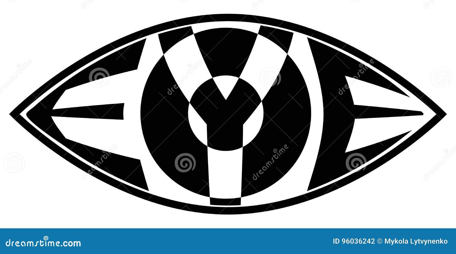 Przygląda się ikonę z tekstem słowa oko inside pojęcie wielki brat, wszystkie widzii widok
