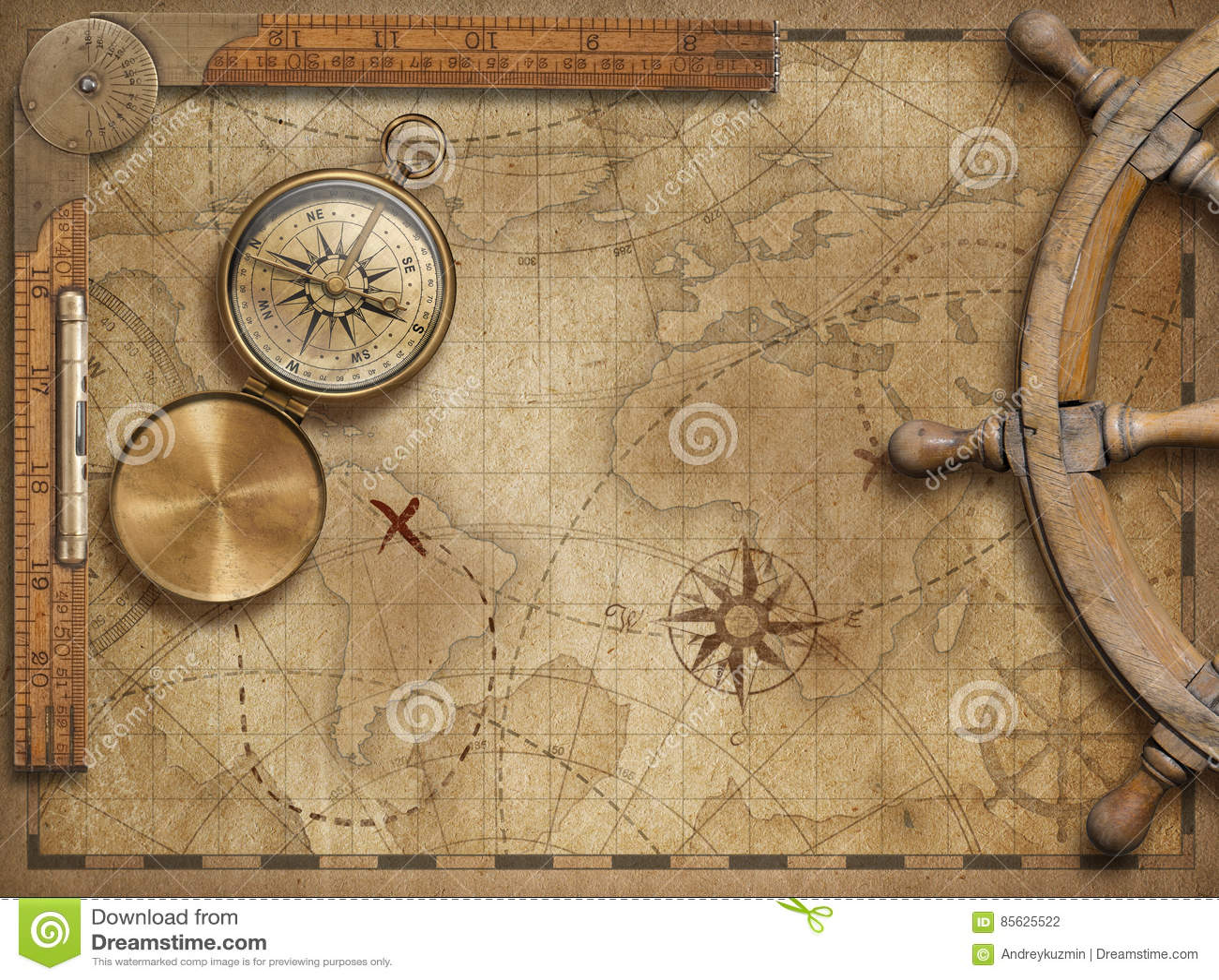 Przygoda i bada pojęcia życie z starą nautyczną światową mapą wciąż