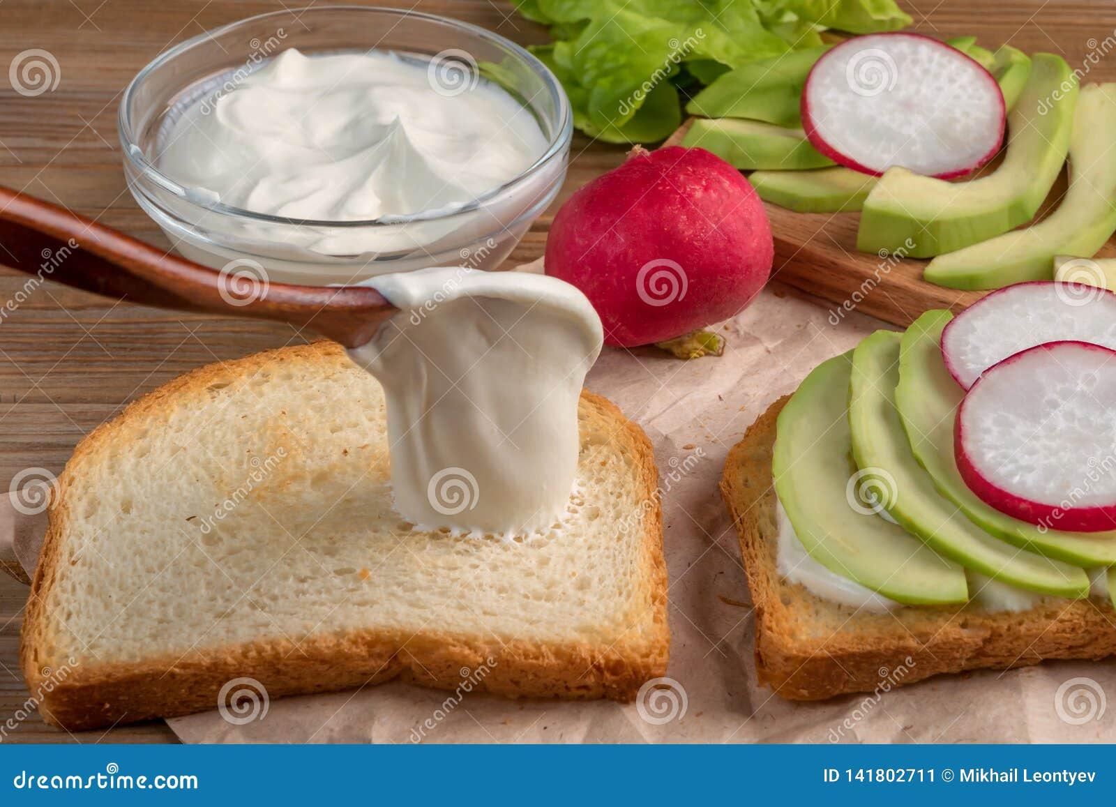 Przygotowanie grzanka z jogurtem, avocado i rzodkwią, z bliska miękkie ogniska,