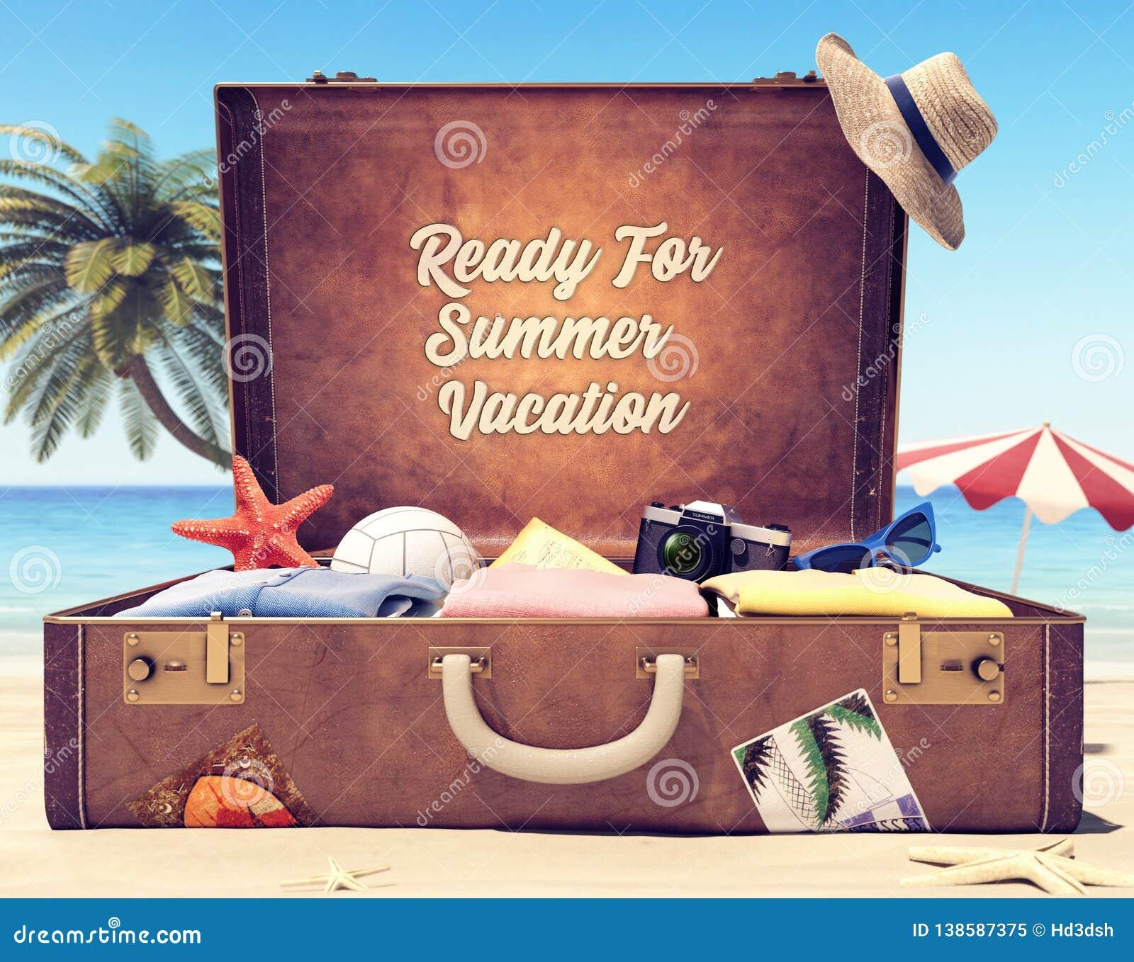 Przygotowywa dla wakacji letnich - walizka z akcesoriami i tło przestrzenią