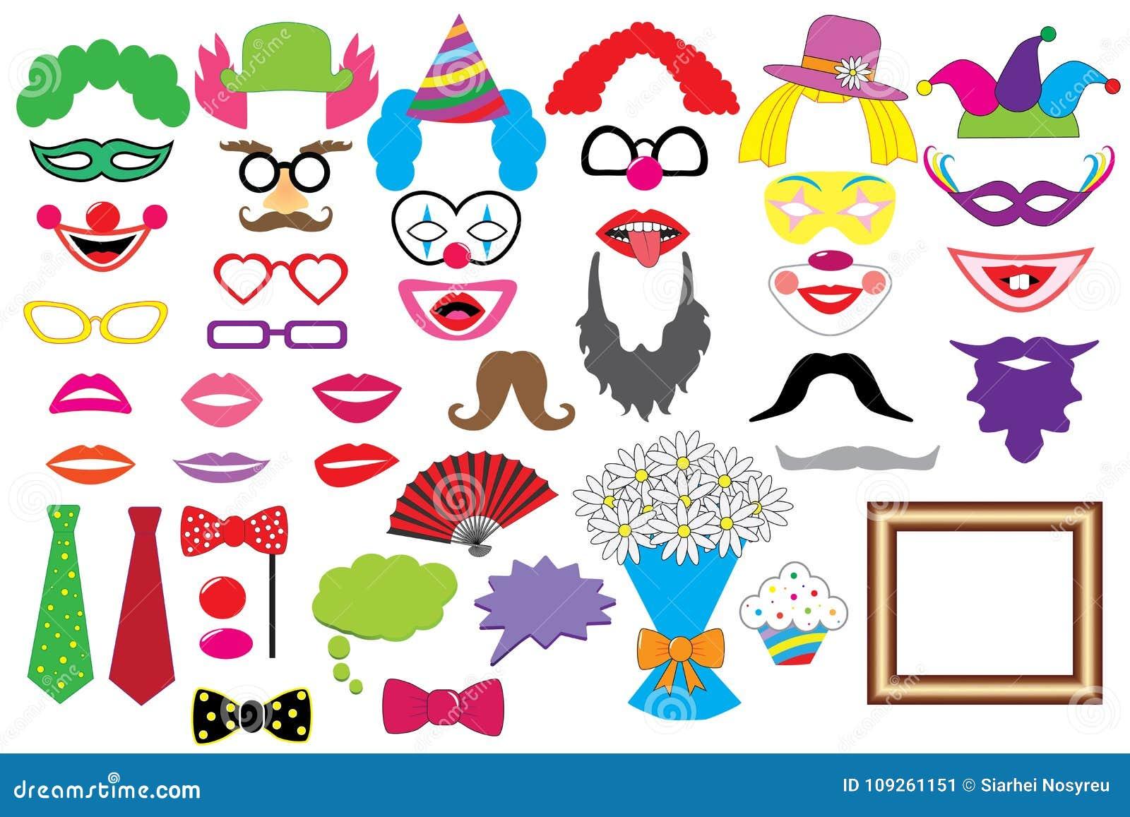 Przyjęcie set błazeny Szkła, kapelusze, wargi, peruki, wąsy, krawat