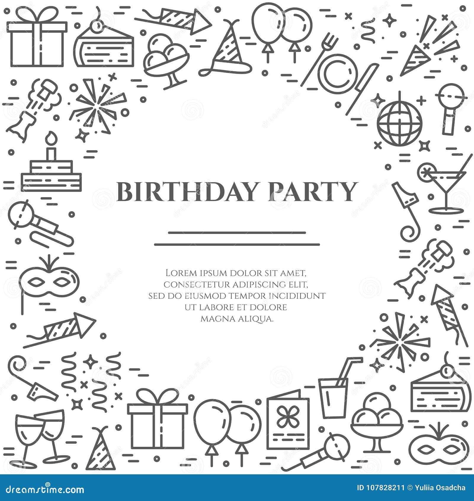 Przyjęcie urodzinowe tematu horyzontalny sztandar Set elementy tort, teraźniejszość, szampan, dyskoteka, fajerwerk i inny,