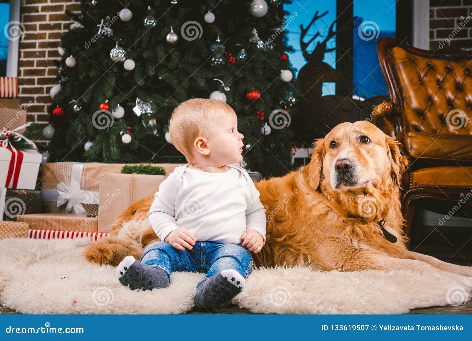 Przyjaźń mężczyzny dziecko i psa zwierzę domowe Tematu nowego roku zimy Bożenarodzeniowi wakacje Chłopiec na podłodze dekorował d