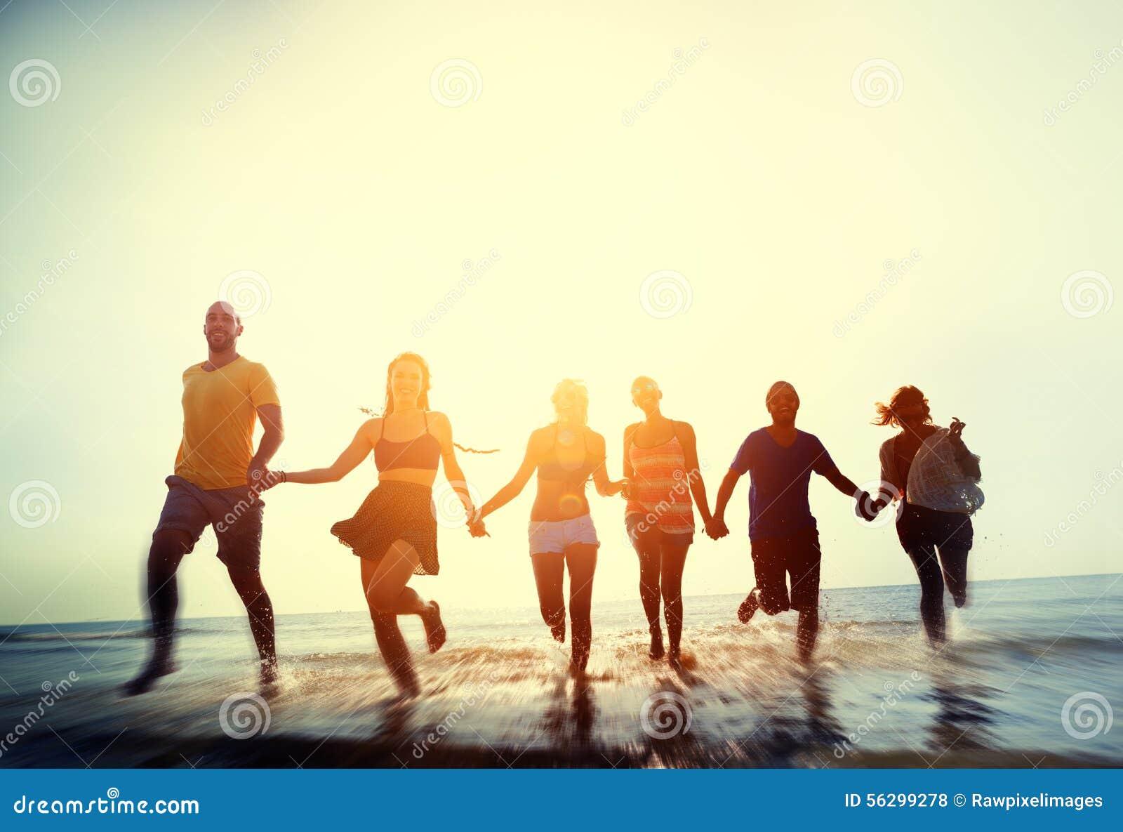 Przyjaźni wolności plaży wakacje letni pojęcie