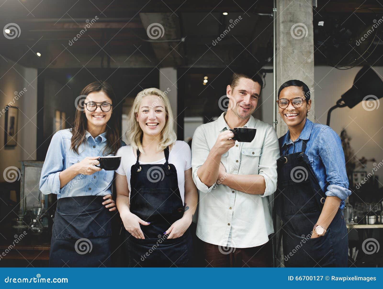 Przyjaciela partnerstwa Barista sklep z kawą pojęcie