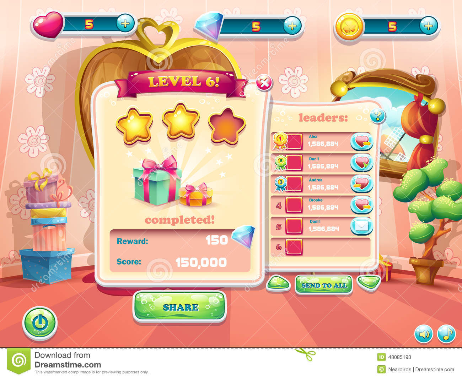 Przykład interfejs użytkownika gra komputerowa Nadokienny complet