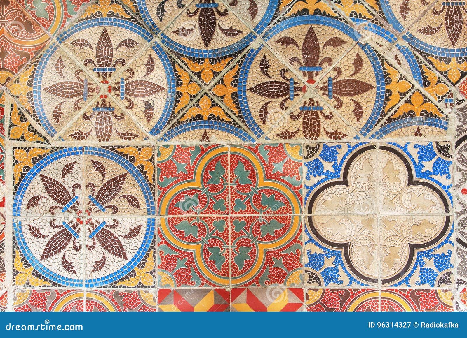 Przykład retro projekta ceramiczna płytka Rocznik deseniujący tło i tekstura Kolonista domowa podłoga starymi czasami