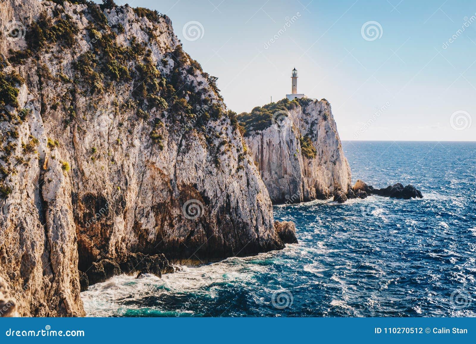 Przylądek Lefkada, Lefkas falezy w południowej normie lub latarnia morska i
