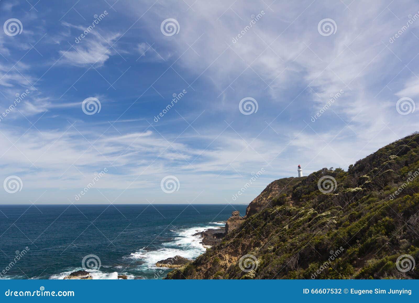 Przylądka Schanck latarnia morska z niebieskimi niebami