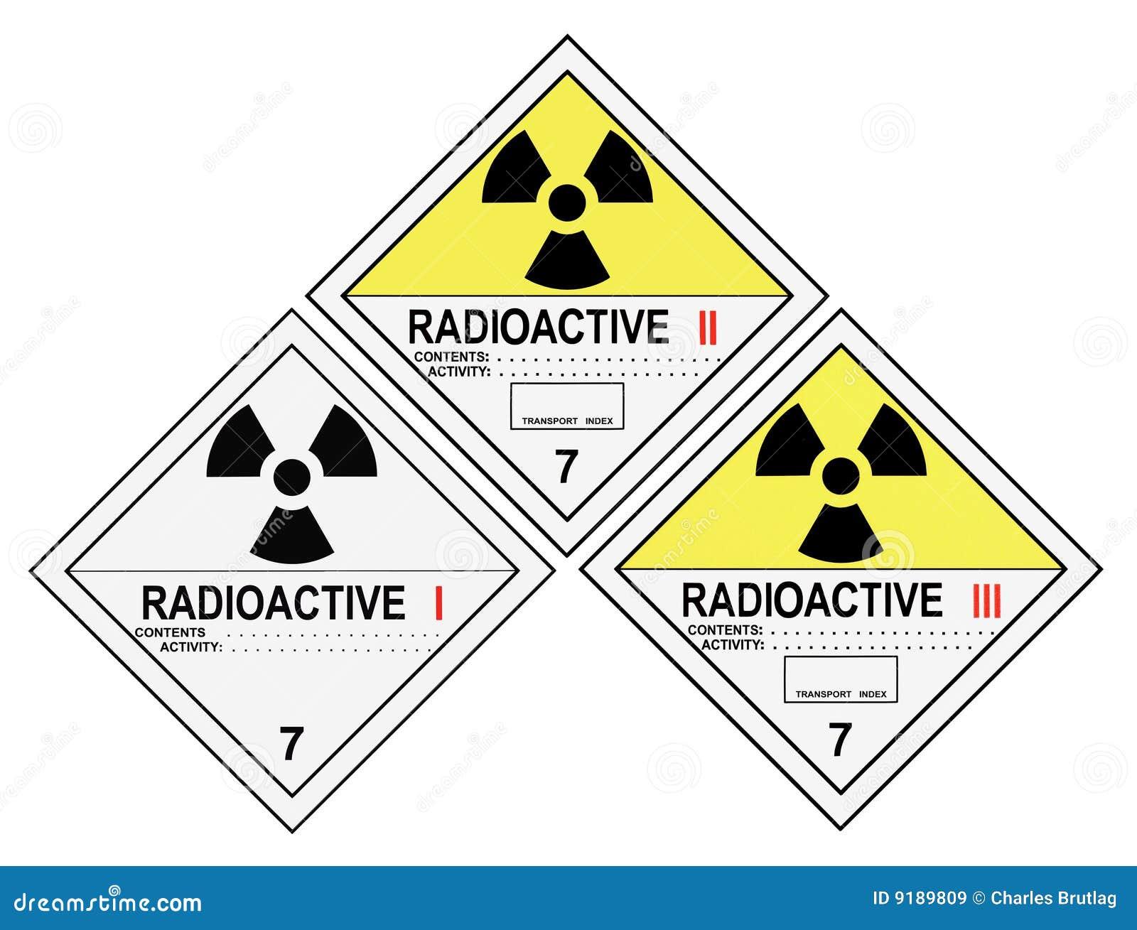 Przylepiać etykietkę promieniotwórczego ostrzeżenie