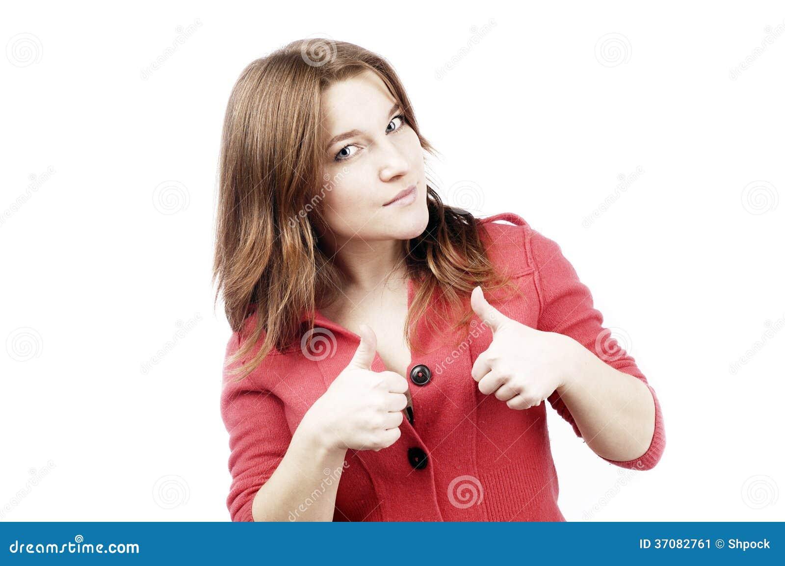 Download Przypadkowa Dziewczyna Mówi Ok Na Bielu Obraz Stock - Obraz złożonej z odosobniony, dobry: 37082761