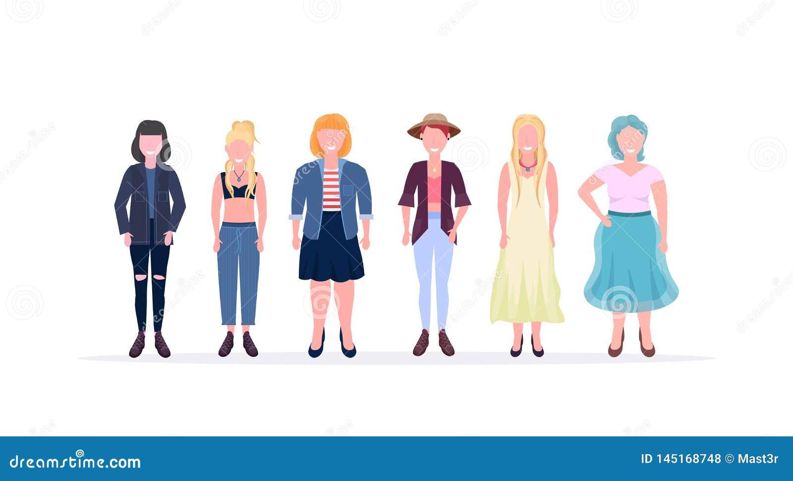 """Przypadkowe kobiety stoi wpólnie uÅ›miechać siÄ™ różne ciaÅ'o ksztaÅ'ta typów i fryzur dziewczyn żeÅ""""skie postacie z kreskÃ"""