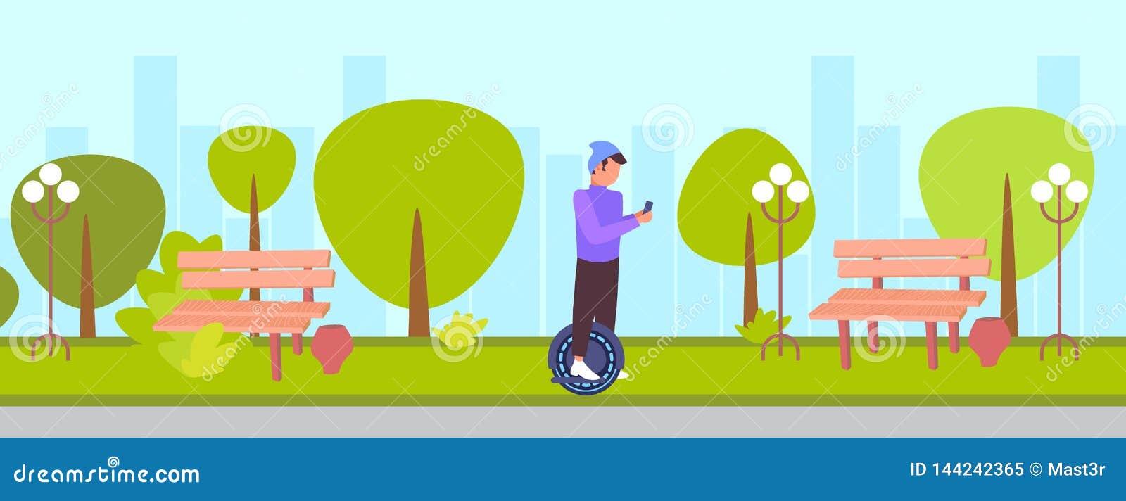 Przypadkowy mężczyzna jedzie mono koło używać smartphone faceta modnisia na monowheel eco ogłoszenia towarzyskiego życzliwym alte