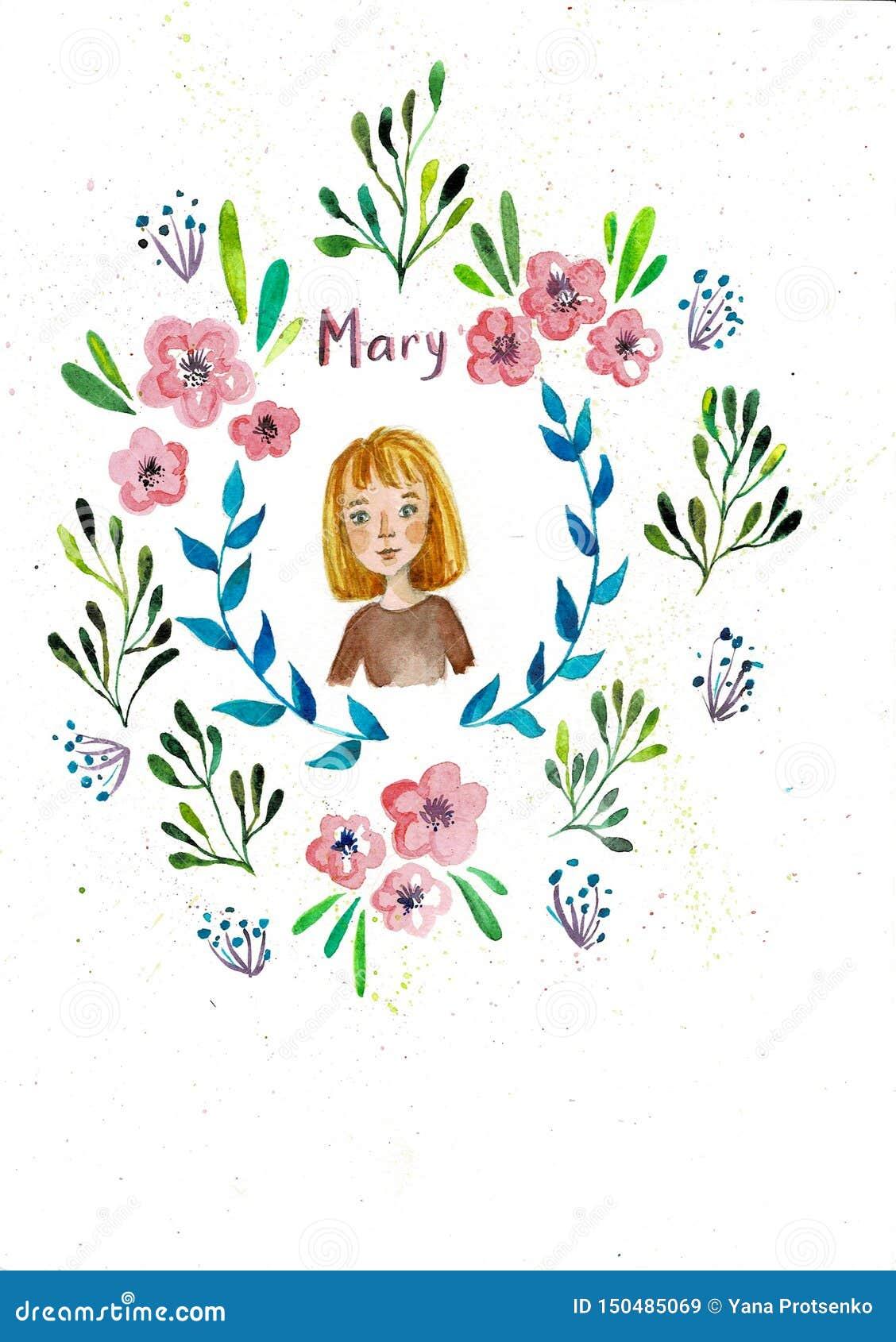 Przyrodnia okregów kwiatów rama Pociągany ręcznie akwarela obraz na białym tle Komiczna śliczna dziewczyna Doskonalić dla śliczny