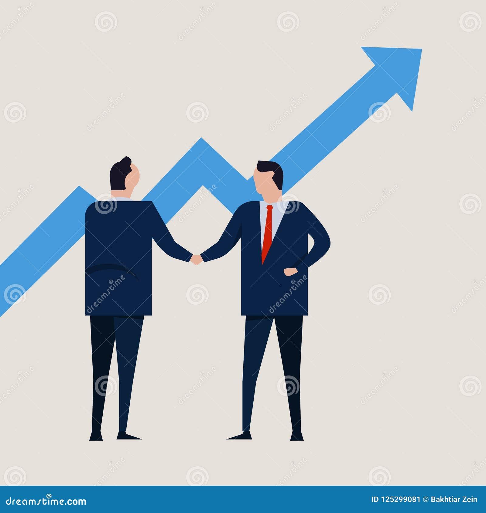 Przyrost mapa przyrostowa wartości inwestycja Ludzie biznesu zgoda trwanie uścisku dłoni jest ubranym apartament formalnego
